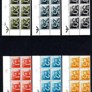 1982 set of twelve in corner marginal Cylinder blocks of six