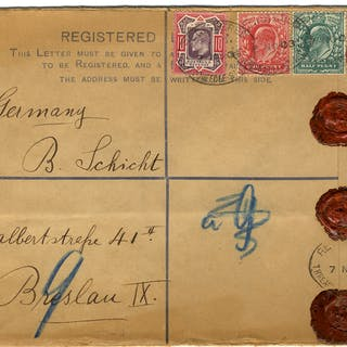 1903 registered envelope to Germany uprated ½d, 1d & 10d