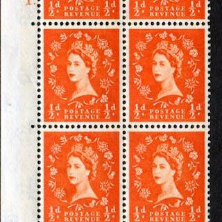 1958 Wilding ½d Crowns, blue phosphor, cream paper, Cyl. 1 dot - block of six