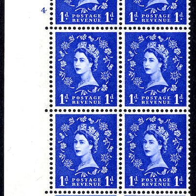 1960 Wilding 1d Crowns, blue phosphor (2 bands), white paper, Perf