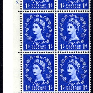1967 Wilding 1d Crowns, violet phosphor, white paper, Perf Type A