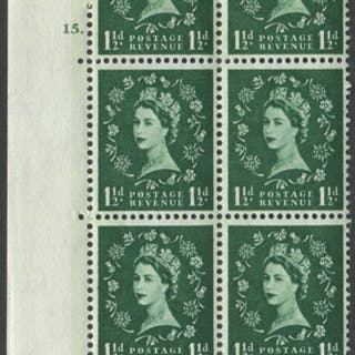 1961 Wilding 1½d Crowns, blue phosphor (2 bands), cream paper, Perf