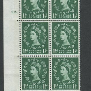 1960 Wilding 1½d Crowns, blue phosphor, white paper, Perf Type A