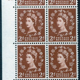 1958 Wilding 2d Crowns, cream paper, Perf Type A, Cyl. 22 dot - block of six