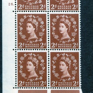 1958 Wilding 2d Crowns, cream paper, Perf Type A, Cyl. 24 dot - block of six