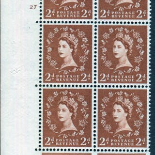 1958 Wilding 2d Crowns, white paper, Perf Type A, Cyl. 27 - block of six
