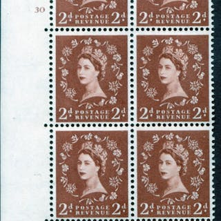 1958 Wilding 2d Crowns, white paper, Perf Type A, Cyl. 30 - block of six