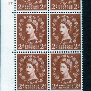 1961 Wilding 2d Crowns, violet phosphor, Perf Type A, Cyl. 27 dot