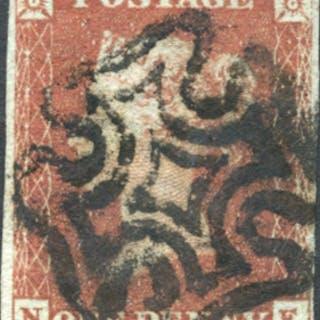 1841 1d red from black Plate 10 NE, bold black Maltese Cross
