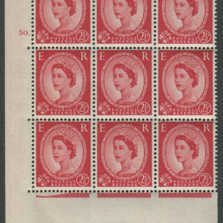 1959 Wilding 2½d Crowns II, cream paper, Perf Type A, Cyl. 50 dot