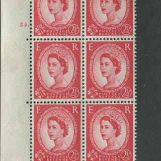 1959 Wilding 2½d Crowns II, white paper, Perf Type A, Cyl. 54 dot