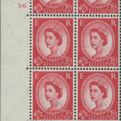 1959 Wilding 2½d Crowns II, white paper, Perf Type A, Cyl. 56 - block of six