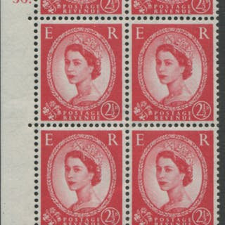 1959 Wilding 2½d Crowns II, white paper, Perf Type A, Cyl. 56 dot
