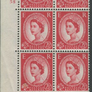 1959 Wilding 2½d Crowns II, white paper, Perf Type A, Cyl. 58- block of six