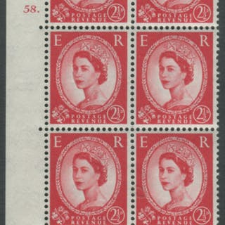 1959 Wilding 2½d Crowns II, white paper, Perf Type A, Cyl. 58 dot