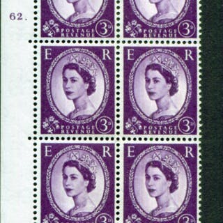 1958 Wilding 3d Crowns, white paper, Perf Type A, Cyl. 62 dot - block of six