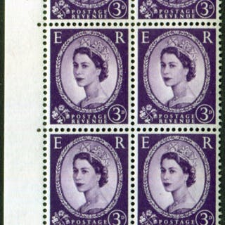 1958 Wilding 3d Crowns, white paper, Perf Type A, Cyl. 81 dot - block of six