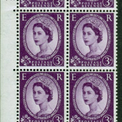 1958 Wilding 3d Crowns, white paper, Perf Type A, Cyl. 70 dot - block of six