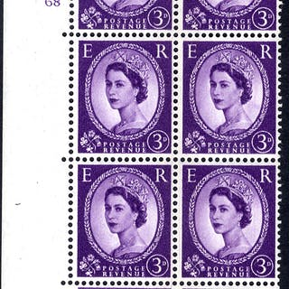 1959 Wilding 3d Crowns, blue phosphor (side band), Perf Type A, Cyl.