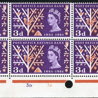 1961 P.O.S.B 3d Timpson printing Cylinder block of six, showing perf