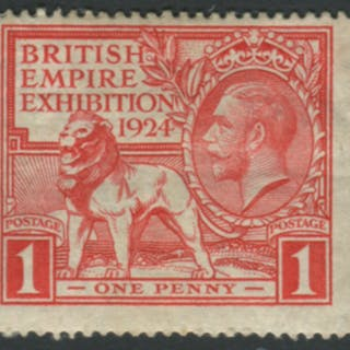 1924 Wembley Exhibition 1d scarlet single from vertical coil