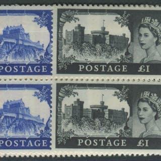 1963 Bradbury Wmk Crowns Castle set - UM blocks of four