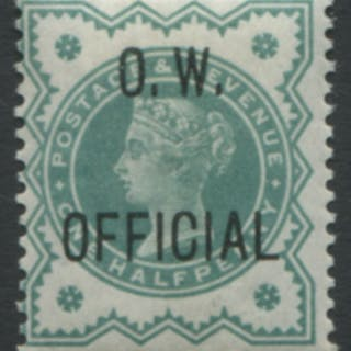 O.W OFFICIAL 1902 ½d blue-green - fine MINT
