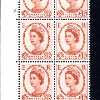 1959 Wilding 4½d Crowns, white paper, Perf Type A, Cyl. 8 dot - block of six