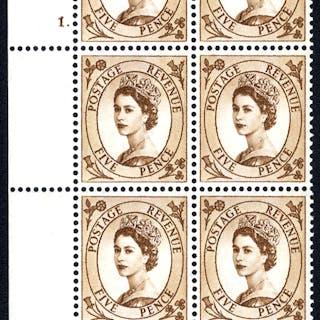 1960 Wilding 5d Crowns, violet phosphor, Perf Type F(L), Cyl. 1 dot