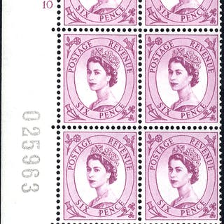1954 Wilding 6d Crowns, white paper, Perf Type A, Cyl. 10 - block of six