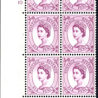 1961 Wilding 6d Crowns, blue phosphor (2 bands), white paper, Perf