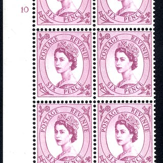 1961 Wilding 6d Crowns, violet phosphor, white paper, Perf Type F(L)