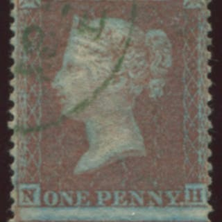 1855 1d red-brown Pl.4 on blued paper, superb USED, cancelled by a