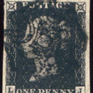 1840 1d black - Plate 1b LJ