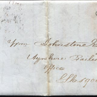 1841 1d red-brown Pl.14 (JC) on entire addressed to the Ayrshire Railway