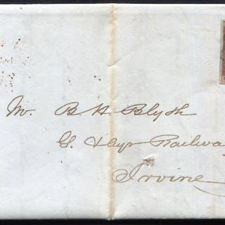 1841 1d red-brown Pl.16 (EK) on entire from Edinburgh to Irvine, superb