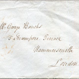 1841 1d red-brown Pl.92 (RB) used on envelope from Bewdley, Northumberland
