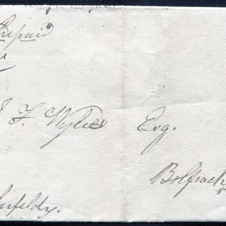 1841 1d red-brown Pl.20 (AG) - HUGE stamp on entire sent to Bolfracks