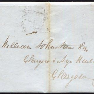 1841 1d red-brown Pl.21 (EK) on entire sent to the Glasgow & Ayr Railway