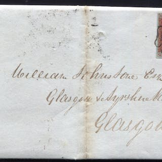 1843 1d red-brown Pl.25 (QA) on entire sent to the Glasgow & Ayr Railway