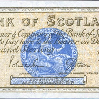 Bank of Scotland 1967 £1 brown & pale blue (B/A 0919661), A/UNC, P.105b.