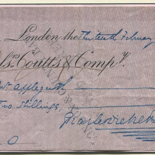 DICKENS, CHARLES (1812-1870) English Writer. Messrs Coutts & Co cheque