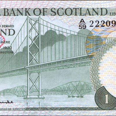 Royal Bank of Scotland 1970 Forth Road Bridge £1 (A/59 222093) A/UNC, P.329a.
