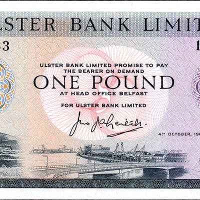 Ulster Bank 1966 £1 Leith (1892483) UNC, P.321.