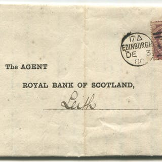 1880 Royal Bank of Scotland statement sent Edinburgh to Leith, franked