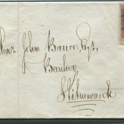 1841 June 16th cover from Mauchline to Kilmarnock, franked red from