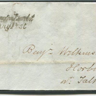 1842 Feb 6th cover from Spalding to Horbling nr Folkingham, franked