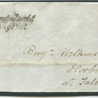1842 Feb 6th cover from Spalding to Horbling nr Folkingham, franked