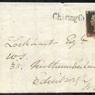 1840 Oct 31st cover from London to Edinburgh, franked Pl.7 PL