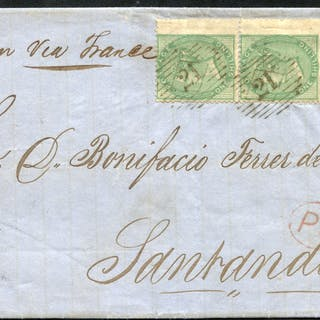 1859 entire letter from London to Santander, Spain via France